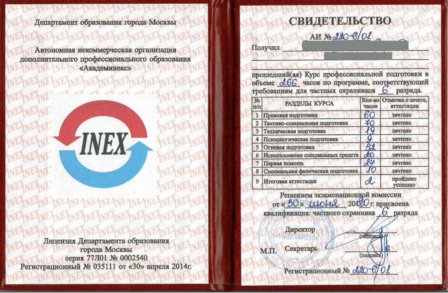 Экспертиза пакета документов, содержащих сведения по квалификации частного охранника